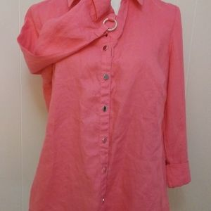 Pink linen button down shirt size 10